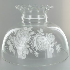CLEAR WITH WHITE FLOWER PATTERN STUDENT SHADE WITH CRIMP TOP AND 9-3/4IN. NECK