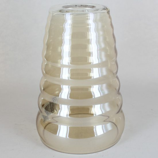 7IN HEIGHT HANDBLOWN CHAMPAGNE GLASS RIPPLED CONE SHADE WITH 1-5/8IN HOLE