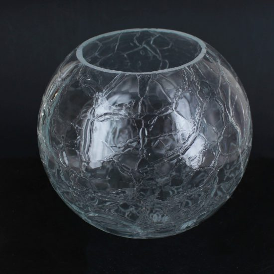 6IN. CLEAR CRACKLE GLASS BALL WITH 3IN. HOLE NECKLESS